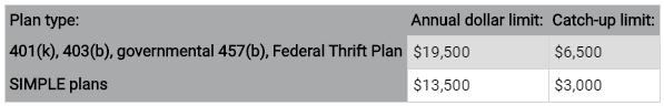 Employer Plan Limits 2020 | Bogart Wealth