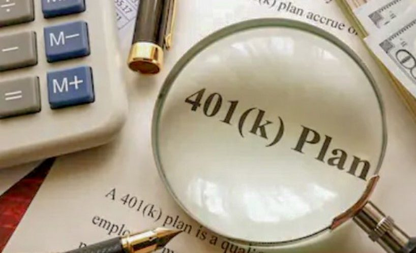 Magnifying glass over a 401(K) plan