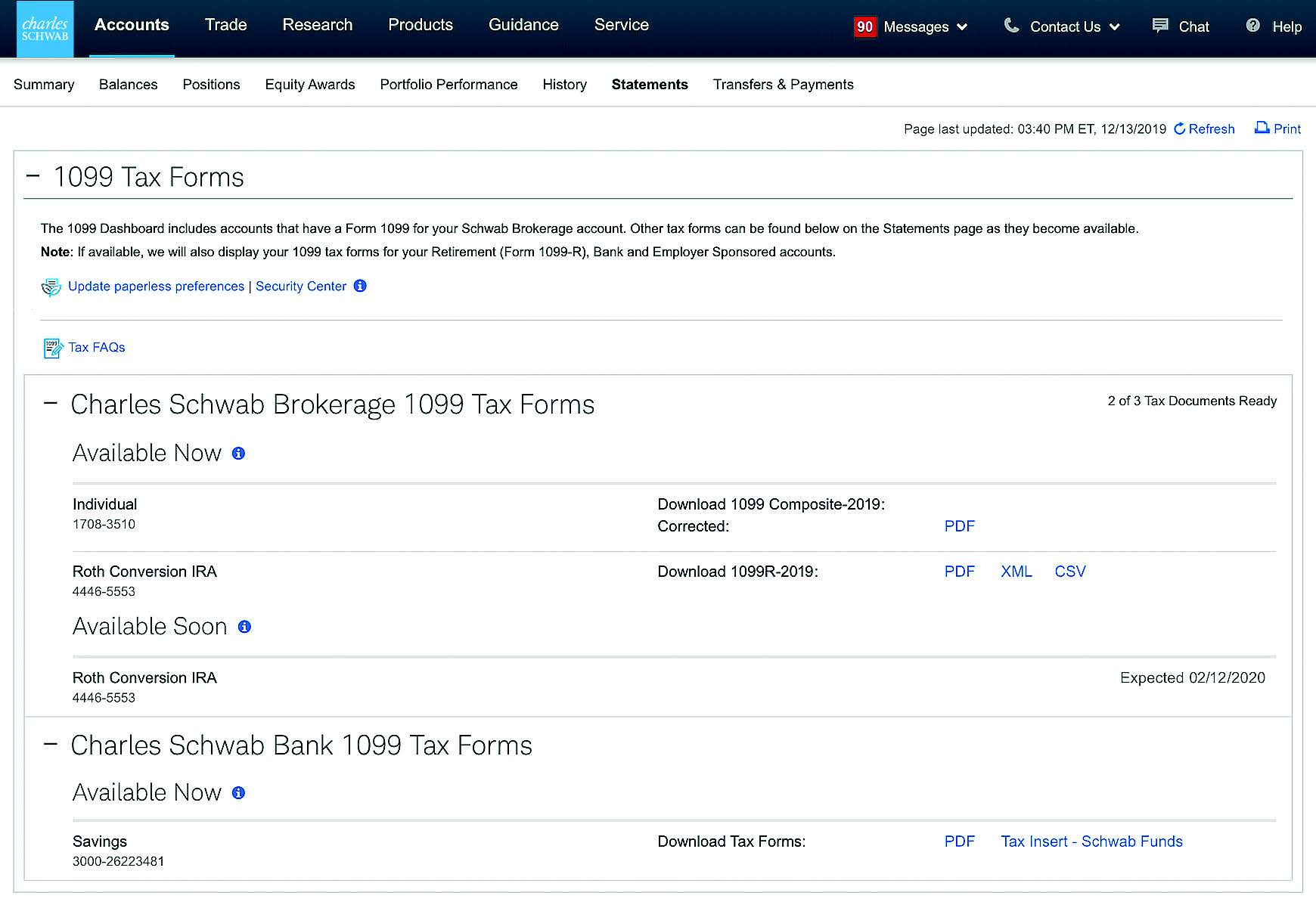 Screenshot of Charles Schwab website