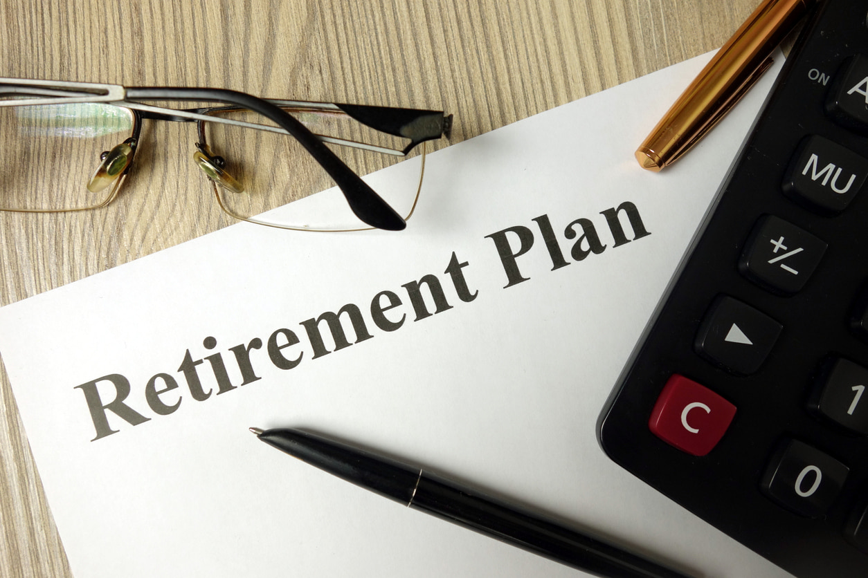 Photo of a document that says retirement plan.