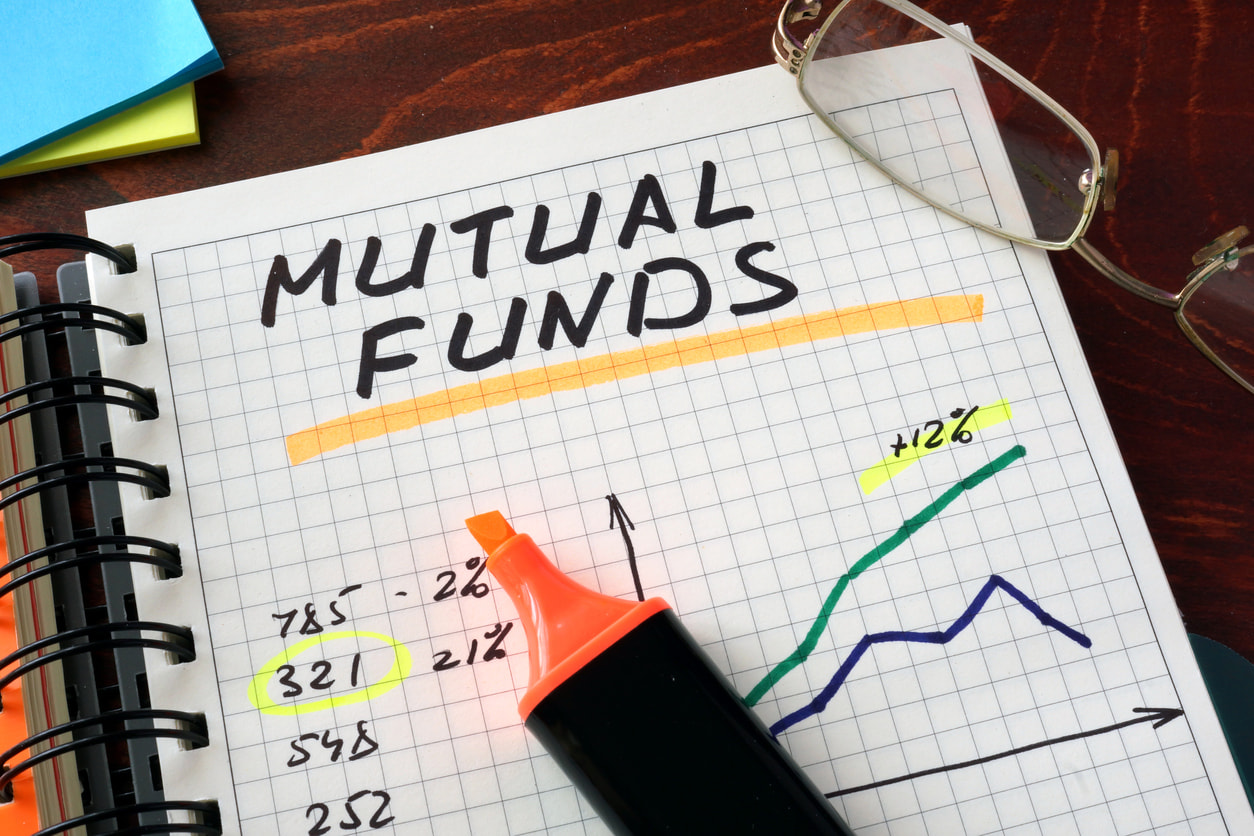 Paper that says mutual funds on a piece of paper with highlighter