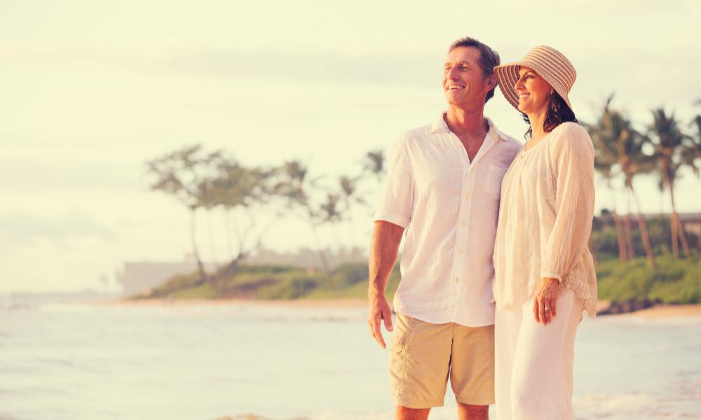 Retired couple enjoying sunset