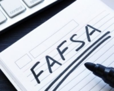 Notebook with the word FAFSA written in it