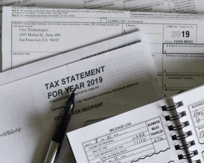 Tax documents on a table