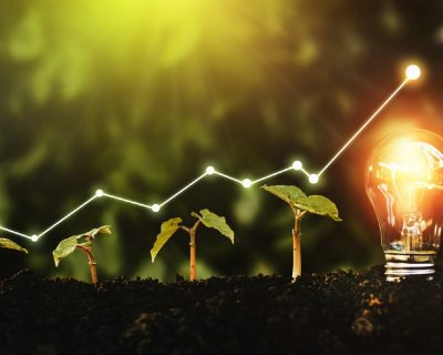 A rising trendline over plants and a lightbulb illustrates the concept of ethical investing.
